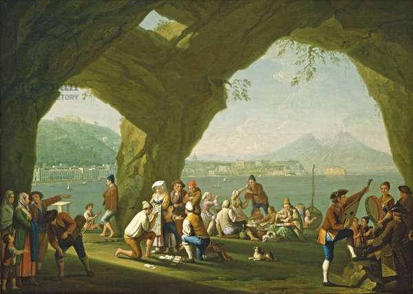 Naples from the West, with Peasants Gaming, c.1760 (oil on canvas)