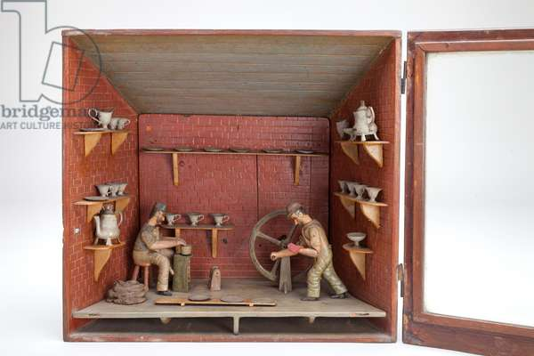 Model of a Potter's Workshop, c.1900 (wood and metal)