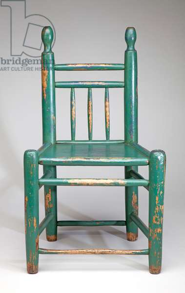 Green-Painted Solid Seat Turner's Chair, 19th century (wood)