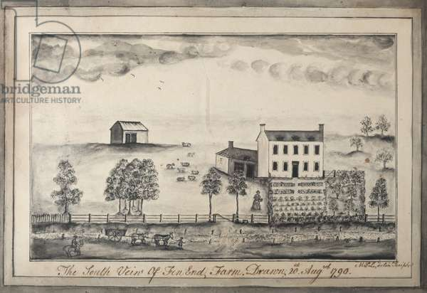 South View of Fen End Farm, initialled M.L.L., 1790 (w/c & ink on paper)