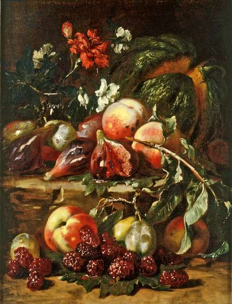 Still Life with Melon, Peaches, Figs, Mullberries, Plums and Carnations, c.1650 (oil on canvas)
