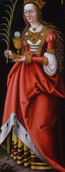 Saint Barbara, wing of a Franconian altarpiece, c.1519-27 (oil on panel)