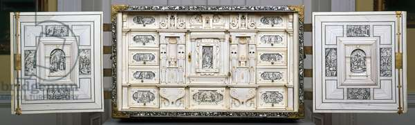 Neapolitan Cabinet, c.1600 (hardwood & ivory with mother-of-pearl inlay)