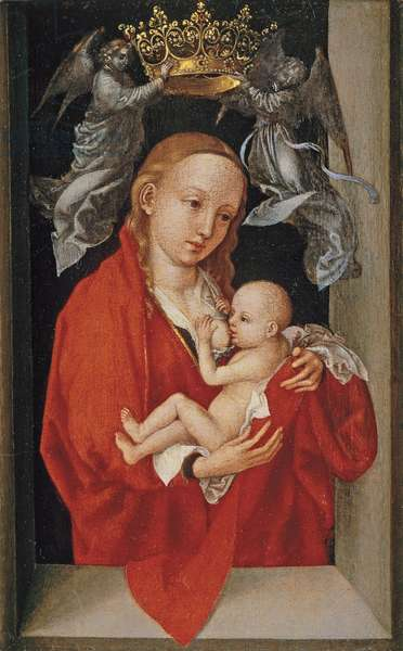 'Maria Lactans', The Virgin and Child Crowned by Angels, 1470-75 (oil on softwood panel)
