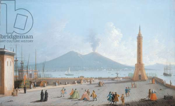 The Lanterna del Molo, Naples (oil on canvas)