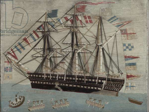 HMS Serapis, c.1850 (wool embroidery)