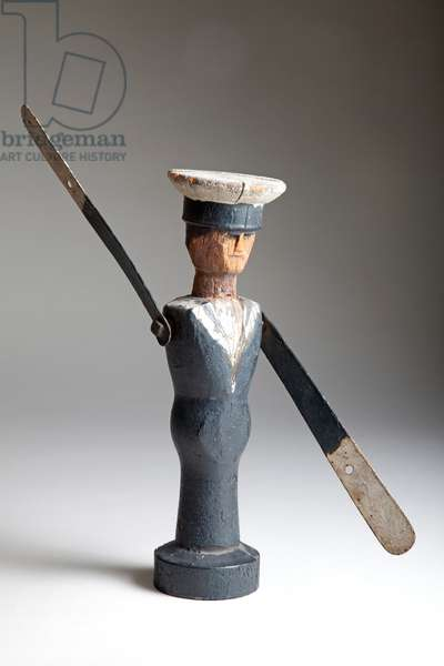 Sailor Whirligig, early 20th century (wood with metal arms)