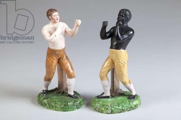 Two Boxers, 1815 (earthenware)