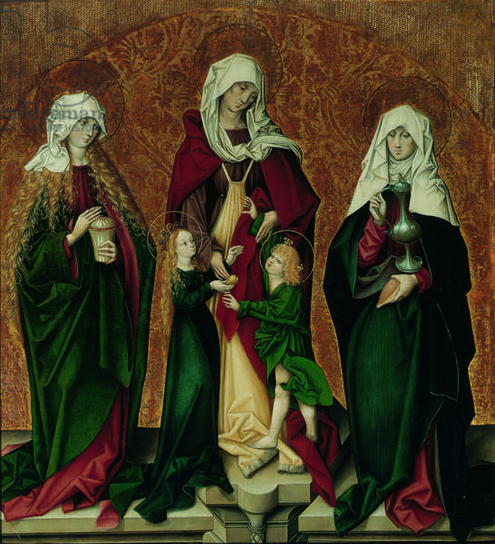 Saint Mary Magdalene, Saint Anne with the infant Mary and Christ Child and Saint Barbara, c.1490 (oil on panel)