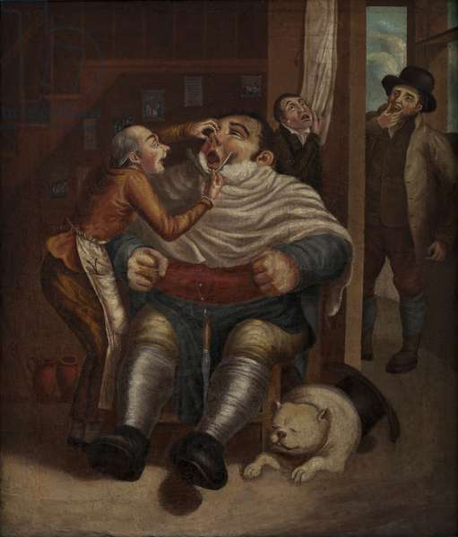 Barber's Shop (oil on canvas)