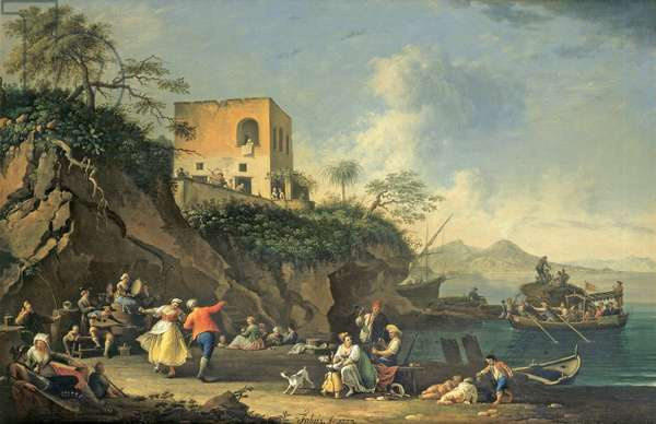 Peasants Merry-making on the Shore at Posillipo, 1777 (oil on canvas)