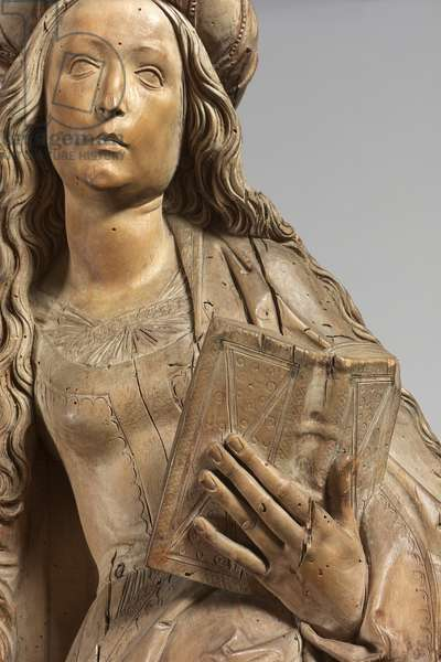 Detail of a Female Saint, 1515-20 (limewood)