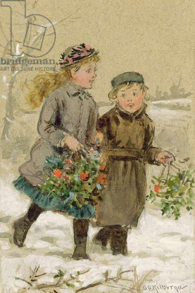Children Playing in the Snow - Collecting Holly (w/c heightened with white on paper) (see 224240 for pair)