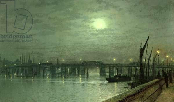 Battersea Bridge by Moonlight (oil on canvas)