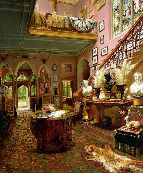 The Hall and Staircase of a Country House, 1888 (oil on canvas)