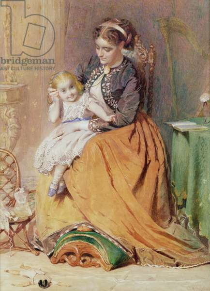 """""""Tick, Tick, Tick"""" - a girl sitting on her mother's lap listening to her gold watch ticking, 1867 (w/c on paper)"""