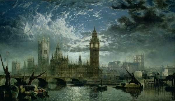 A View of Westminster Abbey and the Houses of Parliament, 1870 (oil on canvas)