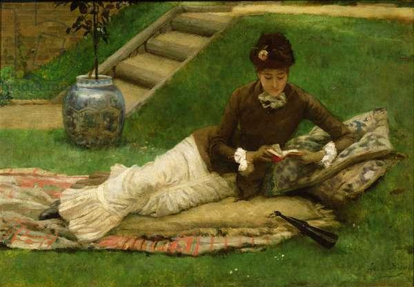 The Novel, A Lady in a Garden reading a book