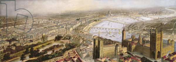 A Panoramic View of London from Westminster, c.1858 (oil on canvas)