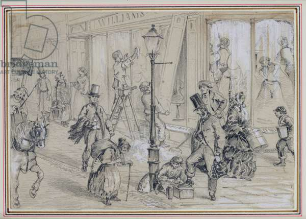 London Street Scene, illustration to 'Twice Round the Clock' by George Augustus Sala (1828-96) 1859 (pencil on paper)