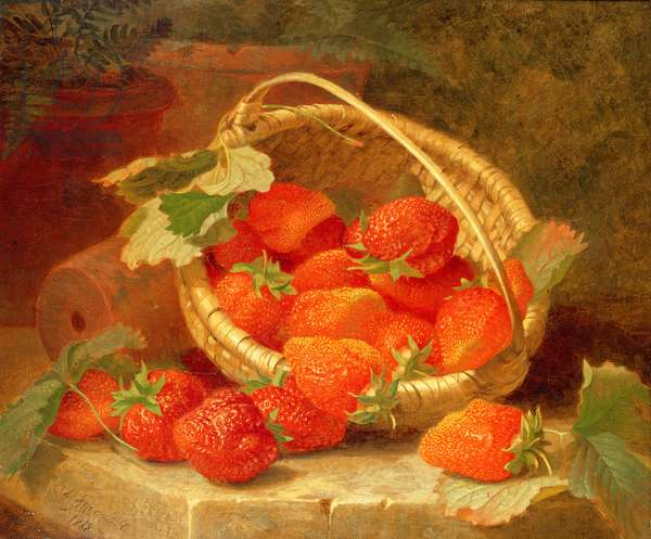 A Basket of Strawberries on a stone ledge, 1888