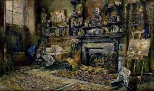 The Studio, 62 Queen Street, Edinburgh, 1883 (w/c on paper)