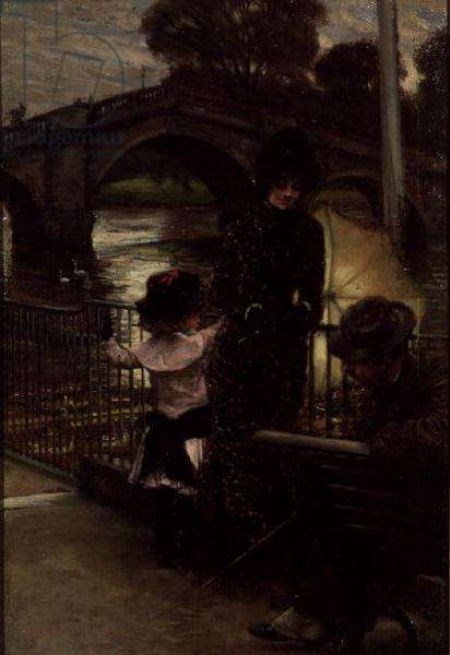 Portrait of the Artist with Mrs.Kathleen Newton and her niece, Lilian Hervey, by the Thames at Richmond, c.1878-9 (panel)