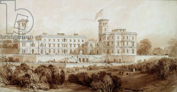 Osborne House, Isle of Wight (pencil and brown wash)