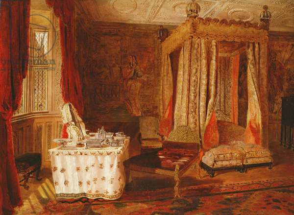 Interior of a Bedroom at Knole, Kent (oil on panel)