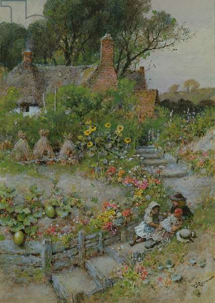 Cottage Garden in Summer (watercolour)