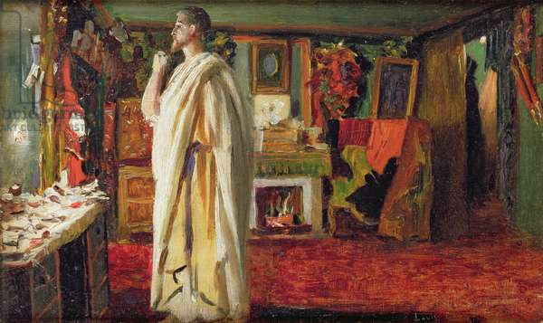 The Actor Mounet Sully wearing Roman Costume in his Dressing Room (oil on board)