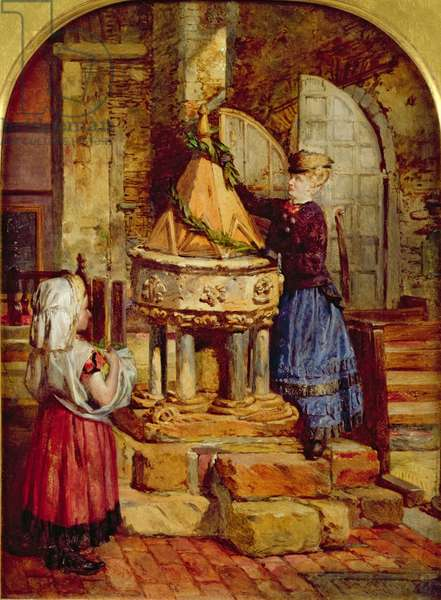 Decorating the Old Font, 1871 (oil on board)