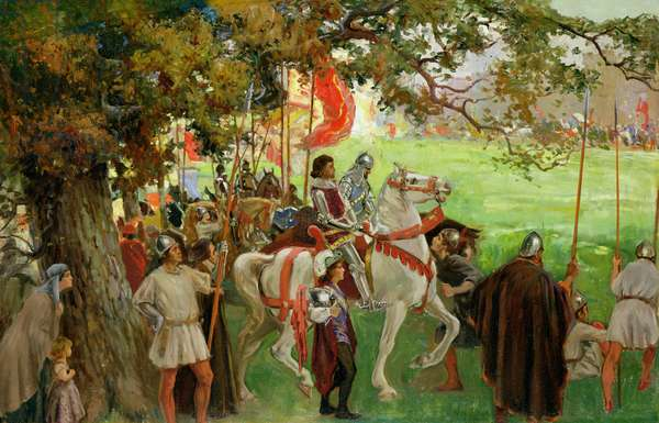 Knights Assembling, from 'Sir Nigel and the White Company' by Sir Arthur Conan Doyle's (1859-1930) (oil on canvas laid down on board) (see also 141515)