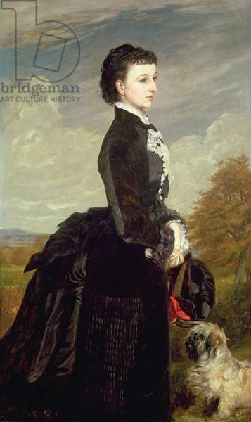 Portrait of a Lady in Black with a Dog, 1875 (oil on canvas)