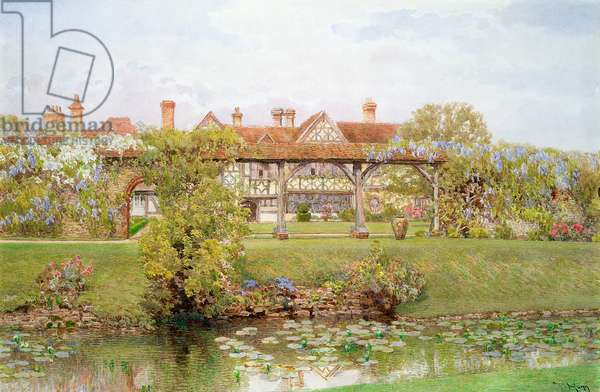 Great Tangley Manor, Surrey, with the Lily Pond and covered walk