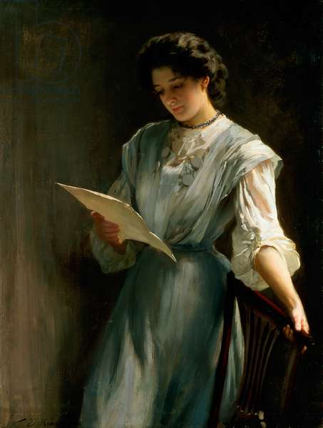 Reading the Letter (oil on canvas)