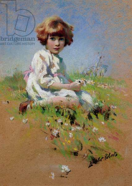 Marjorie - a A Girl Picking Daisies (pastel on paper)