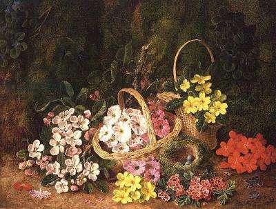 Spring Flowers in baskets