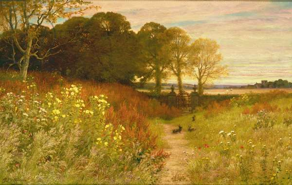 Landscape with Wild Flowers and Rabbits (oil on canvas)
