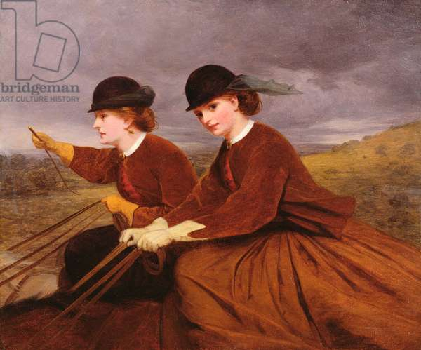 On the Downs - Two Ladies Riding Side-Saddle (oil on board)