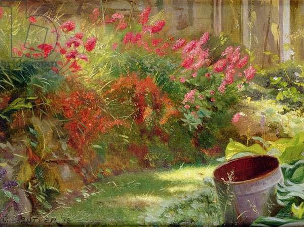 A Sunlit Garden, 1918 (oil on board)