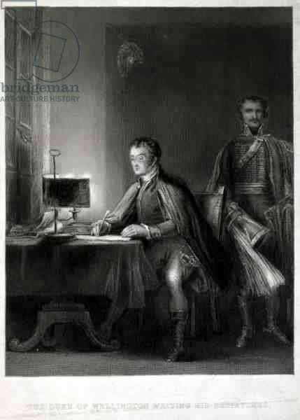 The Duke of Wellington Writing his Dispatches, engraved by William Greatbach (b.1802) (engraving)