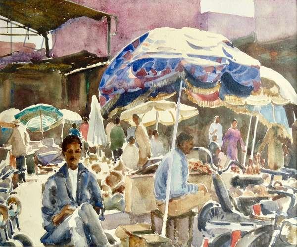 Marrakech souk, Umbrellas, 2001 (w/c)