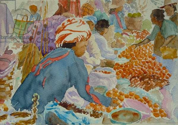 939 Nampan market, choosing oranges