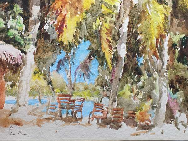 Lunch on the beach, Peter Island, 2017 (w/c)
