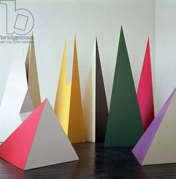 LtoR: Pyramid Red/White, Split C Yellow/White, Split B Yellow/White, Split B White/Yellow, Pyramid Black/White, Pyramid Black/Green, Pyramid Violet/White, 1966 (formica on wood) (see also 321155)