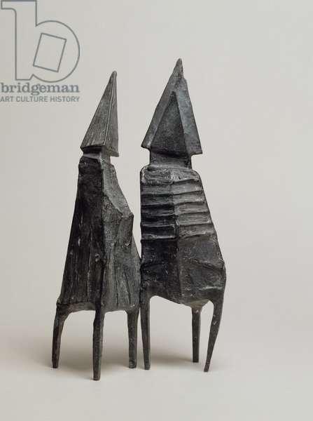 Maquette II Two Standing Figures, 1968 (bronze)