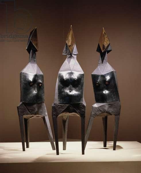 Three Elektras, 1969 (bronze, polished face)