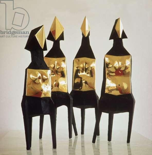LtoR: Maquette I Elektra, Maquette II Elektra, Maquette IV Elektra, Maquette III Elektra, 1969 (bronze, polished face & torso)