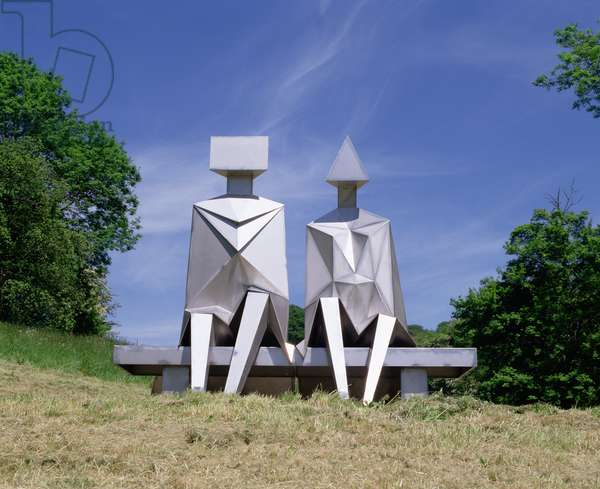 Sitting Couple on Bench, 1990 (welded stainless steel)